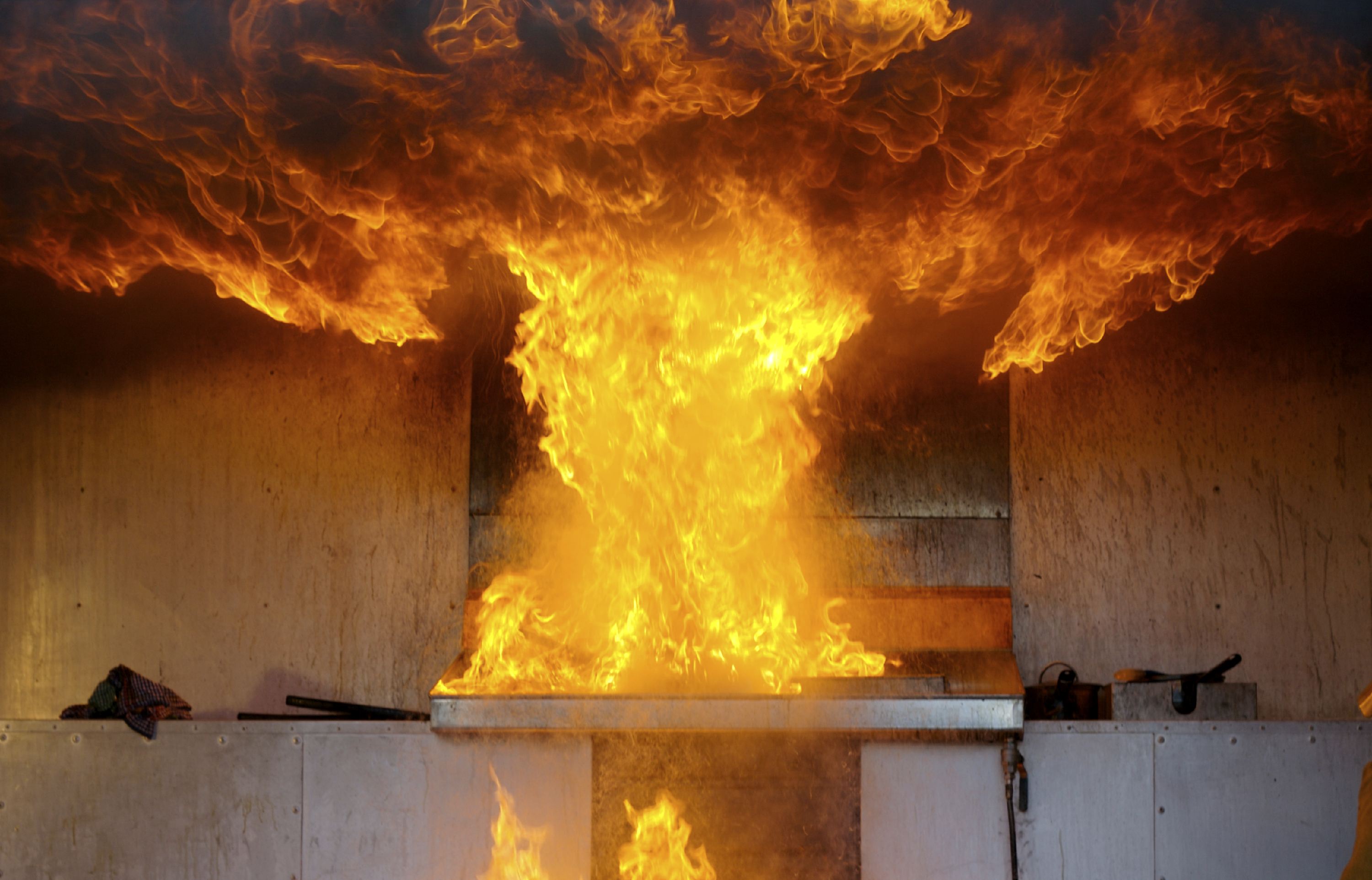 fire in a kitchen